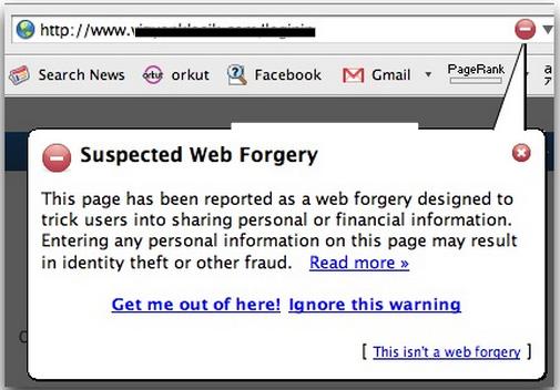 Ein früher Warnhinweis aus dem Jahr 2007. Solche Hinweise erschienen rechts oben im Browser, wenn verdächtige Websites besucht wurden.