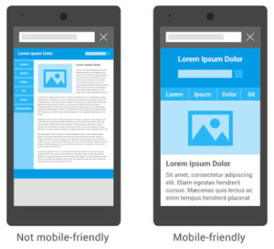 Das Ranking in der mobilen Suche berücksichtigt ab sofort, ob eine Website für Mobilgerät optimiert ist und bewertet positiv, wenn Websites das richtige Format für Mobiltelefone (Beispiel auf der rechten Seite) aufweisen.